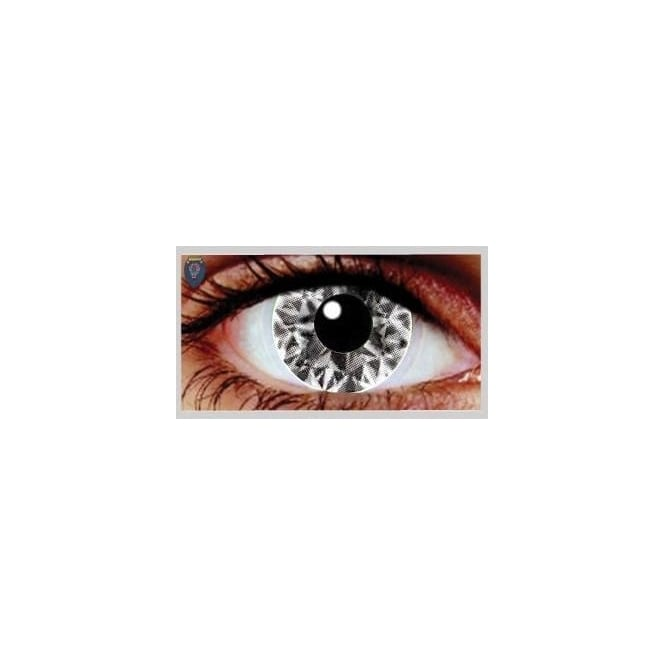 Mesmereyez Xtreme Fancy Dress Halloween Contact Lenses - Ali White UV (Usage:1,3,12 Months - 1 Pair)