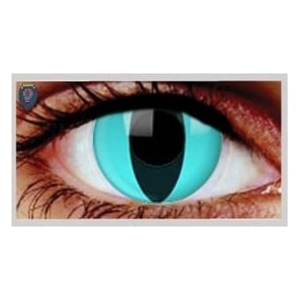 Fancy Dress Halloween Contact Lenses - Aqua Cat (Usage:1,3,12 Months - 1 Pair)