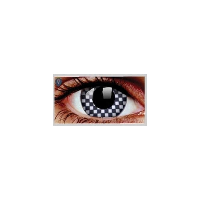 Mesmereyez Xtreme Fancy Dress Halloween Contact Lenses - Cheque Mate (Usage:1,3,12 Months - 1 Pair)