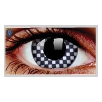 Fancy Dress Halloween Contact Lenses - Cheque Mate (Usage:1,3,12 Months - 1 Pair)