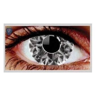 Fancy Dress Halloween Contact Lenses - Gezae Grey UV (Usage:1,3,12 Months - 1 Pair)