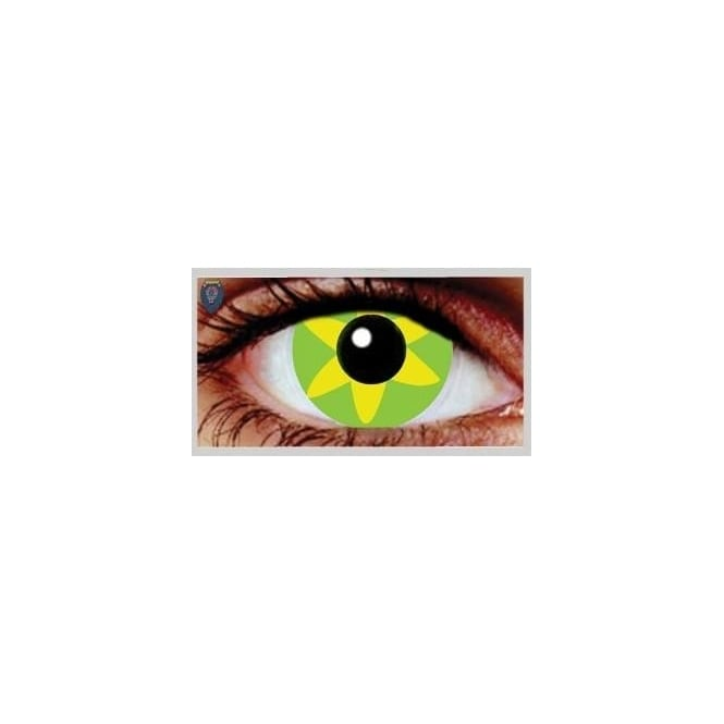 Mesmereyez Xtreme Fancy Dress Halloween Contact Lenses - Green Burst (Usage:1,3,12 Months - 1 Pair)