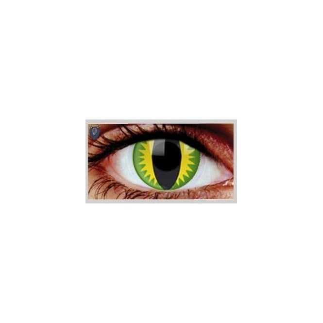 Mesmereyez Xtreme Fancy Dress Halloween Contact Lenses - Green Dragon (Usage:1,3,12 Months - 1 Pair)