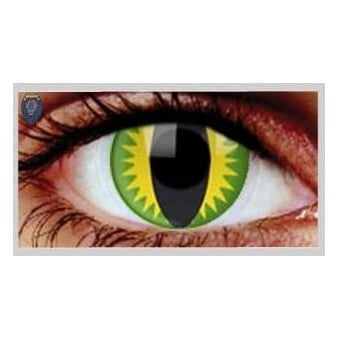 Fancy Dress Halloween Contact Lenses - Green Dragon (Usage:1,3,12 Months - 1 Pair)