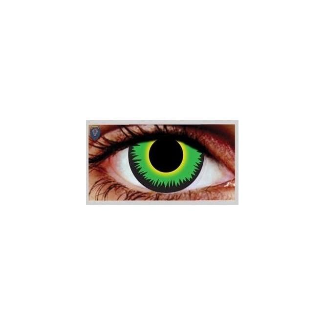Mesmereyez Xtreme Fancy Dress Halloween Contact Lenses - Green Werewolf (Usage:1,3,12 Months - 1 Pair)