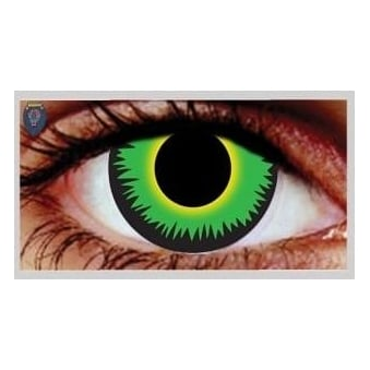 Fancy Dress Halloween Contact Lenses - Green Werewolf (Usage:1,3,12 Months - 1 Pair)