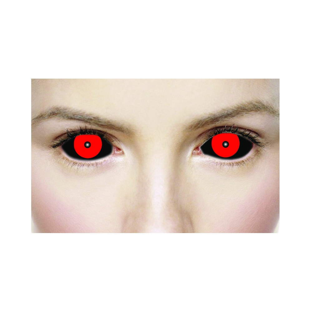 Mesmereyez Halloween Fancy Dress Contact Lenses - Hellish Black & Red