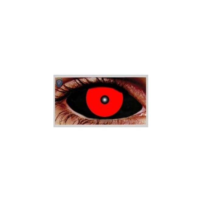 Mesmereyez Xtreme Fancy Dress Halloween Contact Lenses - Hellish Black and Red (Covers WHOLE Eye) - (1 Pair) Solution Included