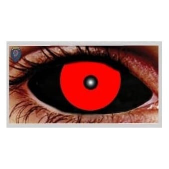 Fancy Dress Halloween Contact Lenses - Hellish Black and Red (Covers WHOLE Eye) - (1 Pair) Solution Included