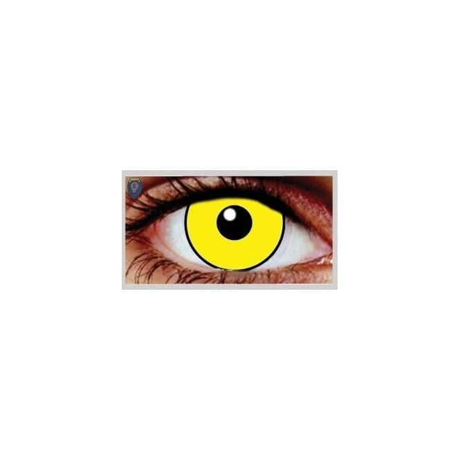 Mesmereyez Xtreme Fancy Dress Halloween Contact Lenses - Mal Chick Yellow UV (Usage:1,3,12 Months - 1 Pair)