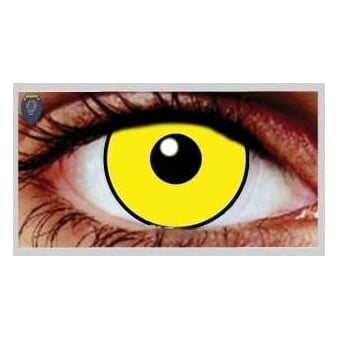 Fancy Dress Halloween Contact Lenses - Mal Chick Yellow UV (Usage:1,3,12 Months - 1 Pair)