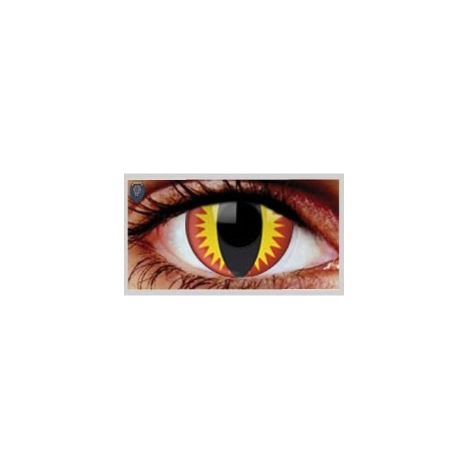 Mesmereyez Xtreme Fancy Dress Halloween Contact Lenses - Red Dragon UV (Usage:1,3,12 Months - 1 Pair)