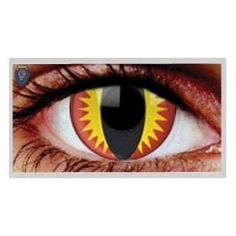 Fancy Dress Halloween Contact Lenses - Red Dragon UV (Usage:1,3,12 Months - 1 Pair)