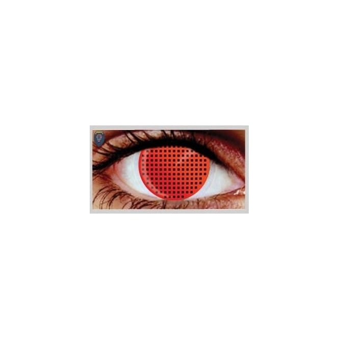 Mesmereyez Xtreme Fancy Dress Halloween Contact Lenses - Red Mesh (Usage:1,3,12 Months - 1 Pair)