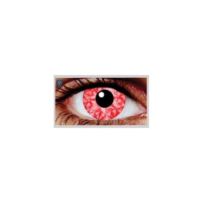 Mesmereyez Xtreme Fancy Dress Halloween Contact Lenses - Rizzy Red UV (Usage:1,3,12 Months - 1 Pair)
