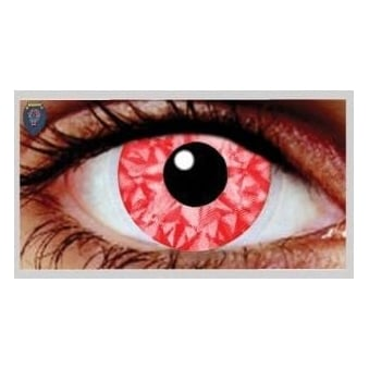 Fancy Dress Halloween Contact Lenses - Rizzy Red UV (Usage:1,3,12 Months - 1 Pair)