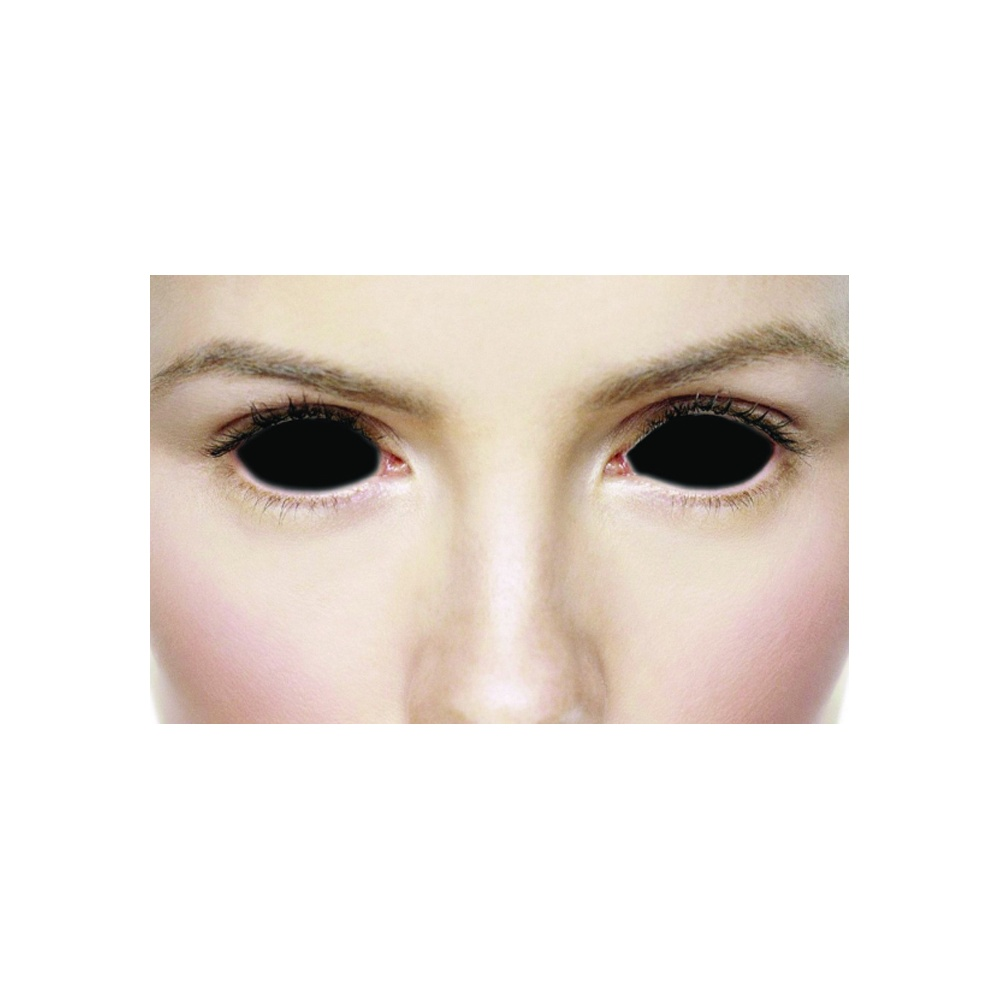 64605c5474 Fancy Dress Halloween Contact Lenses - Sclera Possessed black (Covers WHOLE  Eye) - (