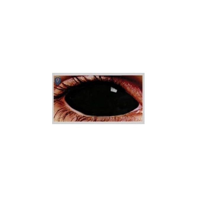 Mesmereyez Xtreme Fancy Dress Halloween Contact Lenses - Sclera Possessed black (Covers WHOLE Eye) - (1 Pair) Solution Included