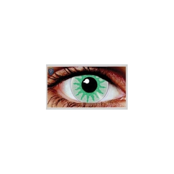 Mesmereyez Xtreme Fancy Dress Halloween Contact Lenses - Solar Green (Usage:1,3,12 Months - 1 Pair)