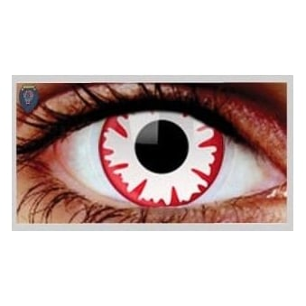 Fancy Dress Halloween Contact Lenses - White Demon UV (Usage:1,3,12 Months - 1 Pair)