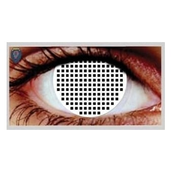 Fancy Dress Halloween Contact Lenses - White Mesh (Usage:1,3,12 Months - 1 Pair)