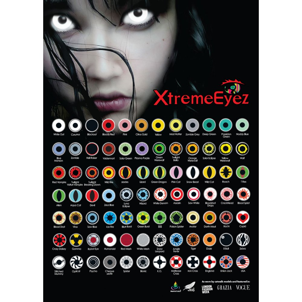 MesmerEyez Fancy Dress Halloween Contact Lenses - White Out