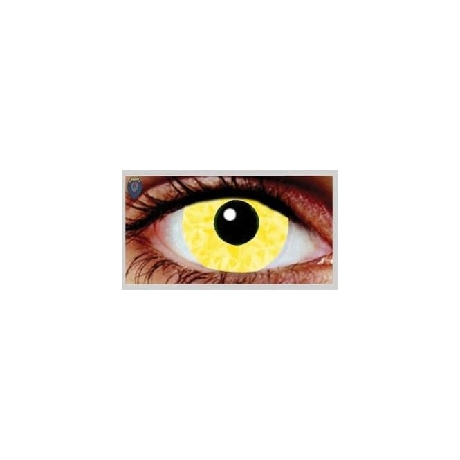 Mesmereyez Xtreme Fancy Dress Halloween Contact Lenses - Yellow Abs UV (Usage:1,3,12 Months - 1 Pair)