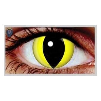 Fancy Dress Halloween Contact Lenses - Yellow Cat UV (Usage:1,3,12 Months - 1 Pair)