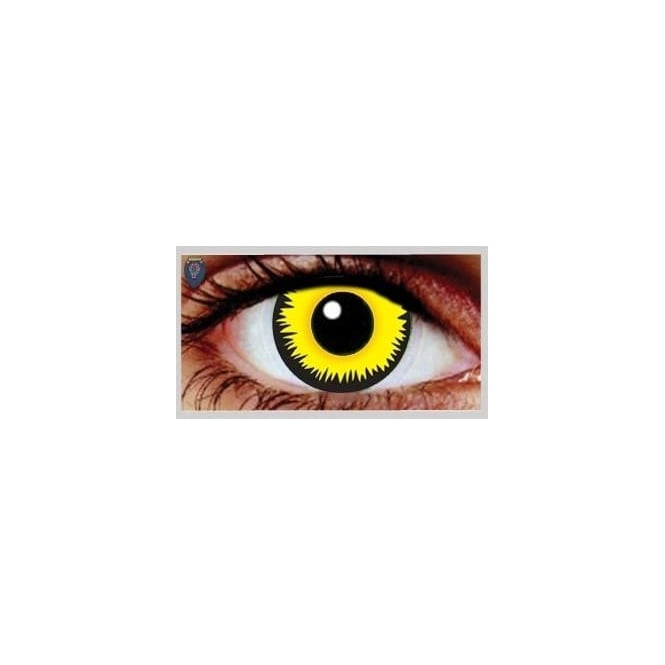 Mesmereyez Xtreme Fancy Dress Halloween Contact Lenses - Yellow Werewolf (Usage:1,3,12 Months - 1 Pair)