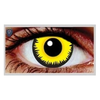 Fancy Dress Halloween Contact Lenses - Yellow Werewolf (Usage:1,3,12 Months - 1 Pair)