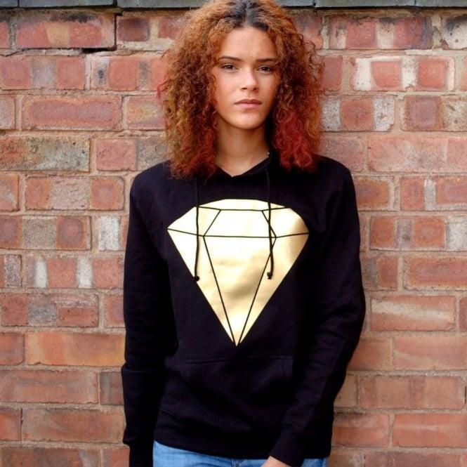Hunt Or Dye Metallic Diamond Hunt Or Dye Black Ladies Hoodie