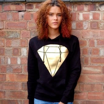 Metallic Diamond Hunt Or Dye Black Ladies Hoodie