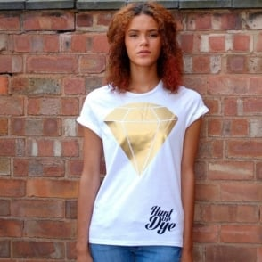 Metallic Diamond Hunt Or Dye White Ladies T-Shirt