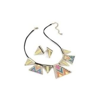 Multi Neon Aztec Enamel Necklace & Earring Set