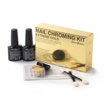 Nail Chroming Kit - Gold (4 Piece Set)
