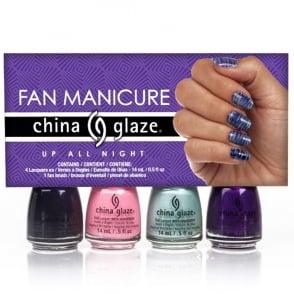 Nail Polish Fan Manicure Set & Nail Design Fan Brush - Up All Night (x4 14ml)