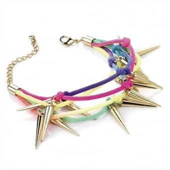 Neon Cord & Gold Spike Bracelet