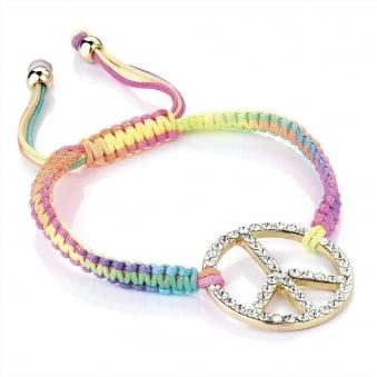 Neon Peace Charm Friendship Bracelet