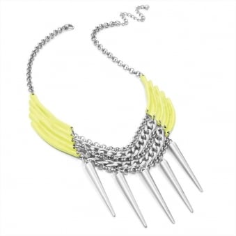 Neon Yellow Spike Drop Necklace