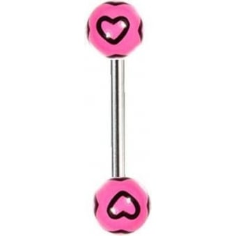 Pink and Black Hearts Barbell (14mm)