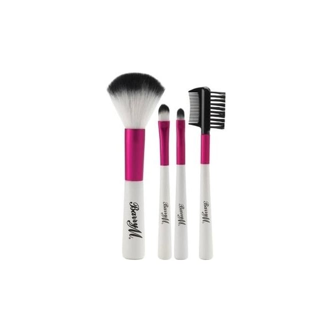 Barry M Pink and White Synthetic Complete Mini Brush Set of 4