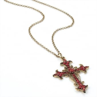Religion Ruby Cross Gold Chain