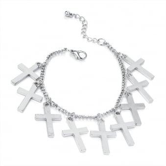 Religion Silver Chain Cross Bracelet
