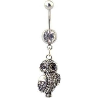 Rhodium Plated Glitzy Owl Navel Bar