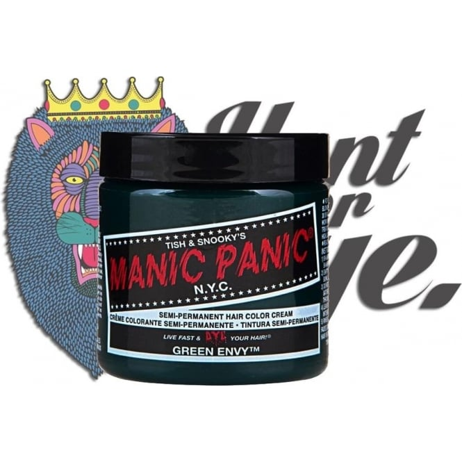 Manic Panic Hair Dye Semi Permanent Hair Dye - Green Envy - Comes With Free Tint Brush