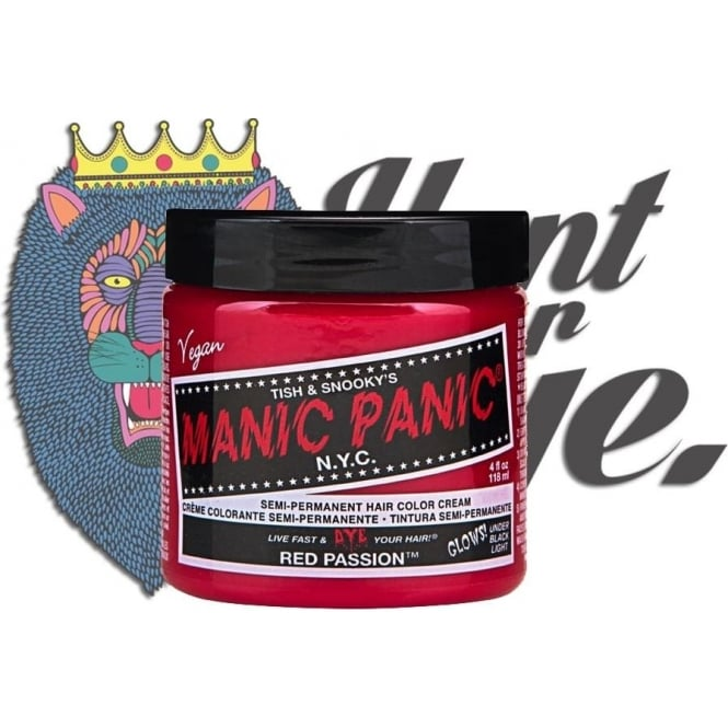 Manic Panic Hair Dye Semi Permanent Hair Dye - Red Passion - Comes With Free Tint Brush