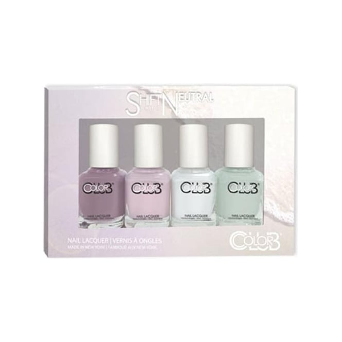 Color Club Shift Into Neutral Nail Polish Collection - 4 Piece Mini Gift Set (4x 7mL)