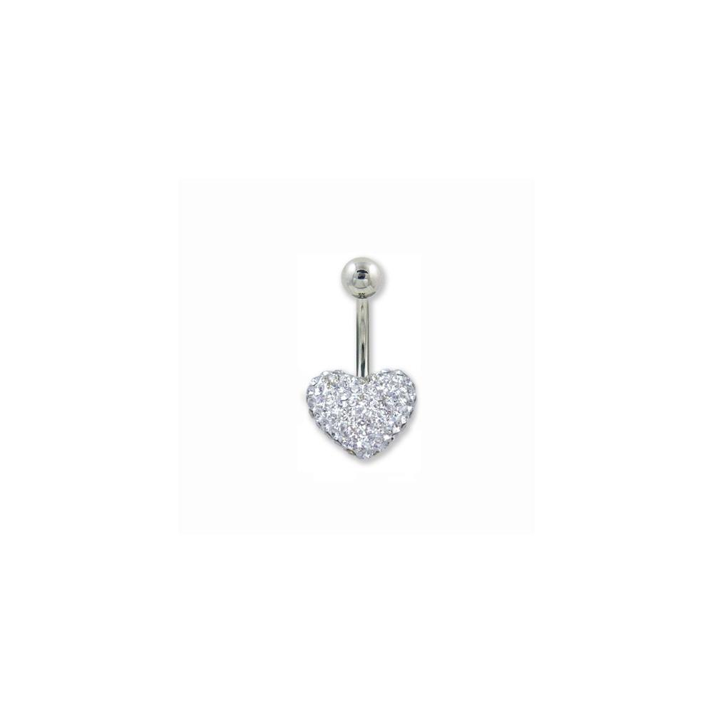 Silver Heart Crystal Belly Bar