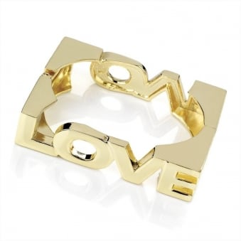 Square Of Love Hinged Gold Bangle