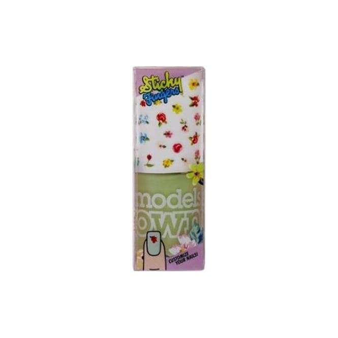 Models Own Sticky Fingers Nail Polish (Stickers included!) - Green Gladiola Pastel Petals 14ml